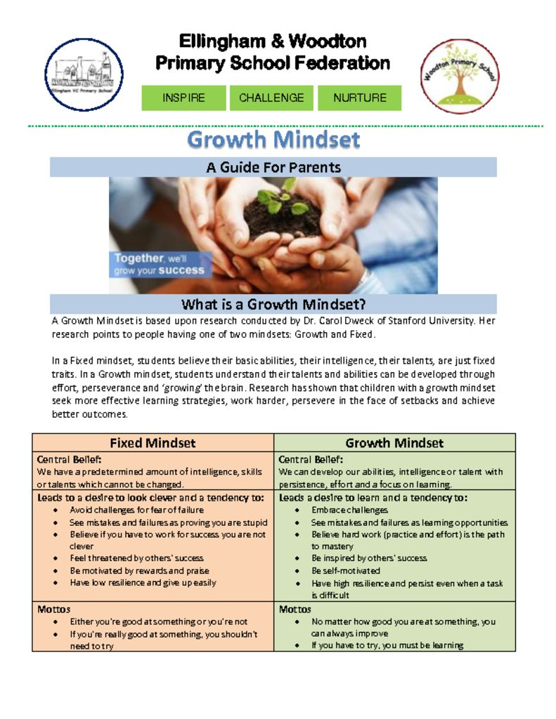 thumbnail of Growth Mindset Guide For Parents